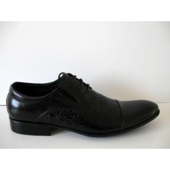 Juodi odiniai su krokodilo odos imitacija batai vyrams Mirco Cicioli